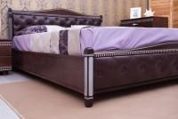 кровать ПРОВАНС с патиной, фрезеровкой, мягкой спинкой (ромбы) - 1314