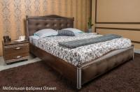 кровать ПРОВАНС с патиной, фрезеровкой, мягкой спинкой (квадраты,ламель) - 1357