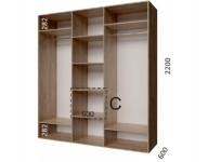 шкаф 230*60*220, 3 фасада - 1835